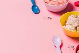 Bowls of Ice Cream and Spoons on Pink Background  image 9