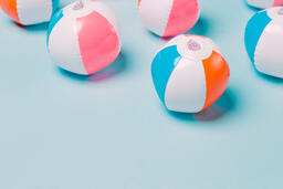 Beach Balls on Blue Background  image 9