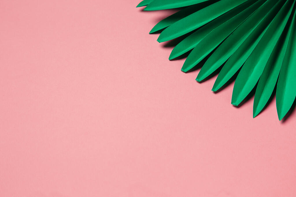 Green Palms on Pink Background large preview