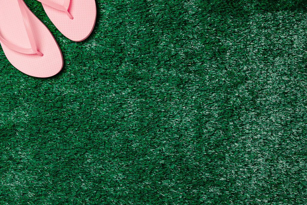 Pink Flip Flops on Grass large preview