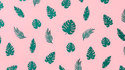 Tropical Leaves on Pink Background  image 11