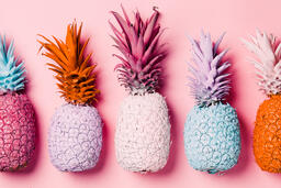 Colorful Pineapple on Pink Background  image 29