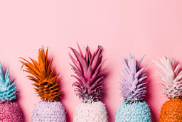 Colorful Pineapple on Pink Background  image 28
