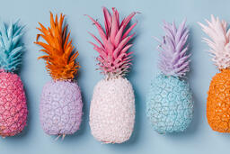 Colorful Pineapple on Blue Background  image 17