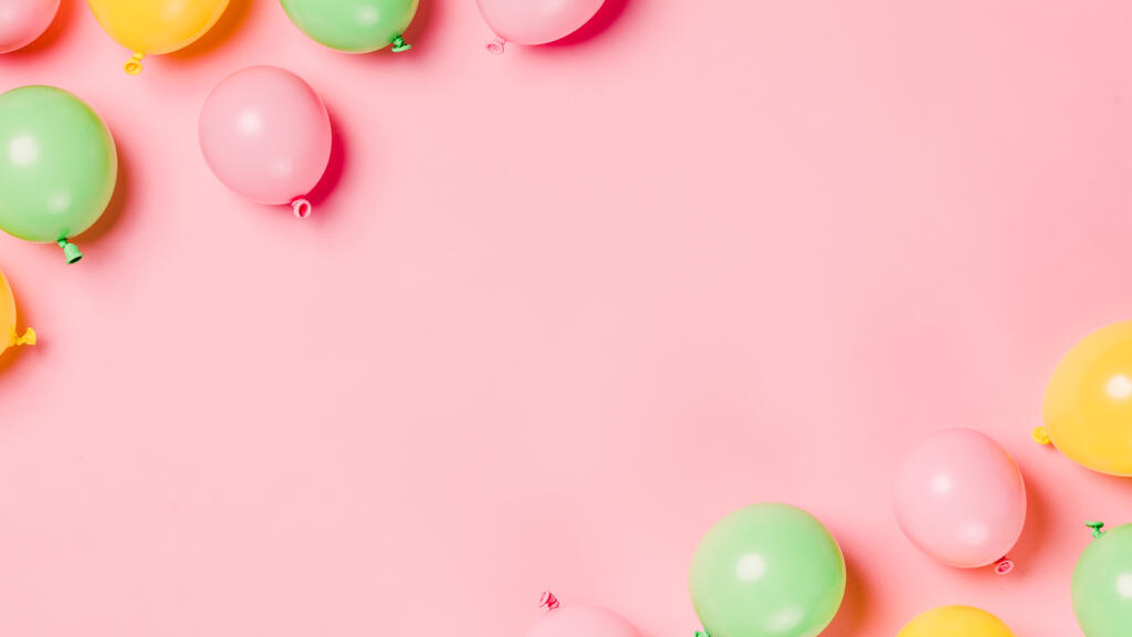 Citrus Colored Balloons Scattered on Pink Background large preview