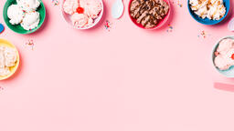 Bowls of Ice Cream and Spoons on Pink Background  image 15