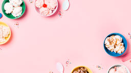 Bowls of Ice Cream and Spoons on Pink Background  image 16