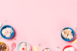 Bowls of Ice Cream and Spoons on Pink Background  image 19