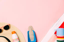 Beach Day Supplies on Pink Background  image 16