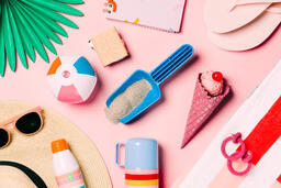 Beach Day Supplies on Pink Background  image 15