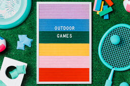 Outdoor Games Letter Board with Game Supplies on Grass  image 3