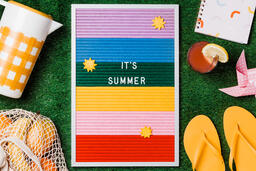 It's Summer Letter Board with Summer Supplies on Grass  image 4