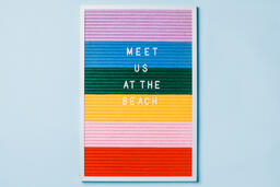 Meet Us at the Beach Letter Board on Blue Background  image 3