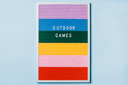 Outdoor Games Letter Board on Blue Background  image 2
