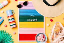 It's Summer Letter Board with Beach Day Supplies on Yellow Background  image 2