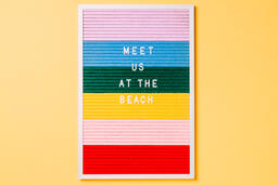 Meet Us at the Beach Letter Board on Yellow Background  image 3