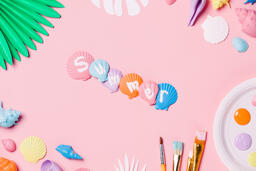 Painting Sea Shells on Pink Background  image 4