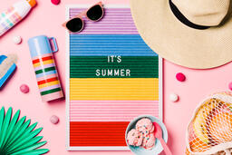 It's Summer Letter Board with Beach Day Supplies on Pink Background  image 3