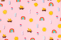 Clay Summer Icons on Pink Background  image 13