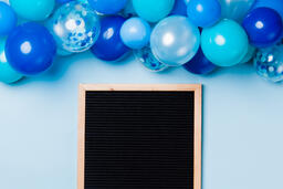 Letter Board with Blue Balloon Garland  image 1