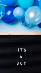 It's a Boy Letter Board with Blue Balloon Garland  image 1