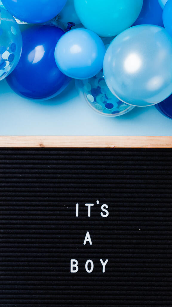 It's a Boy Letter Board with Blue Balloon Garland large preview