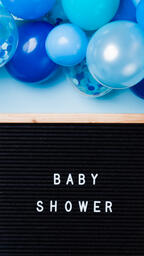 Baby Shower Letter Board with Blue Balloon Garland  image 5