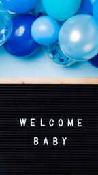 Welcome Baby Letter Board with Blue Balloon Garland  image 4