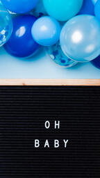 Oh Baby Letter Board with Blue Balloon Garland  image 4