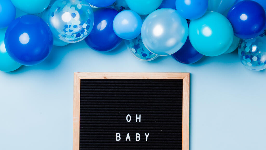 Oh Baby Letter Board with Blue Balloon Garland large preview