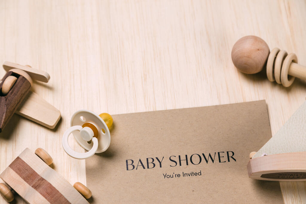 Baby Shower Invitation with Wooden Toys large preview