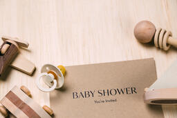 Baby Shower Invitation with Wooden Toys  image 1