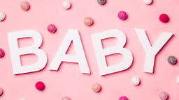 BABY on Pink Background with Felt Polka-Dots  image 2