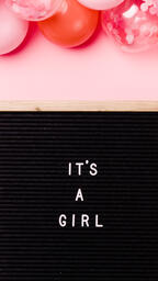 It's a Girl Letter Board with Pink Balloon Garland  image 4
