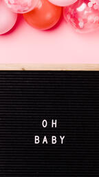 Oh Baby Letter Board with Pink Balloon Garland  image 1