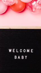 Welcome Baby Letter Board with Pink Balloon Garland  image 3