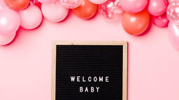 Welcome Baby Letter Board with Pink Balloon Garland  image 4