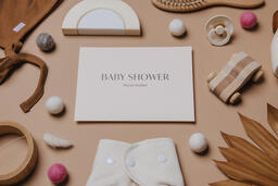 Pink Baby Shower Invitation Surrounded by Baby Items  image 17