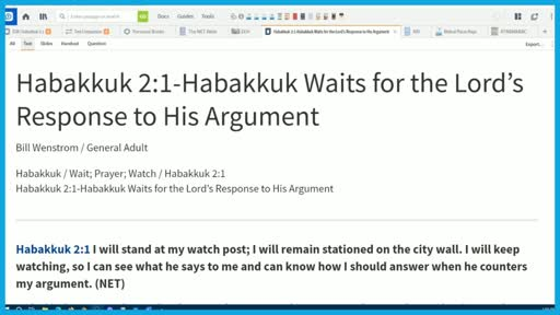 Habakkuk 2:1-Habakkuk Waits for the Lord's Response to His Argument