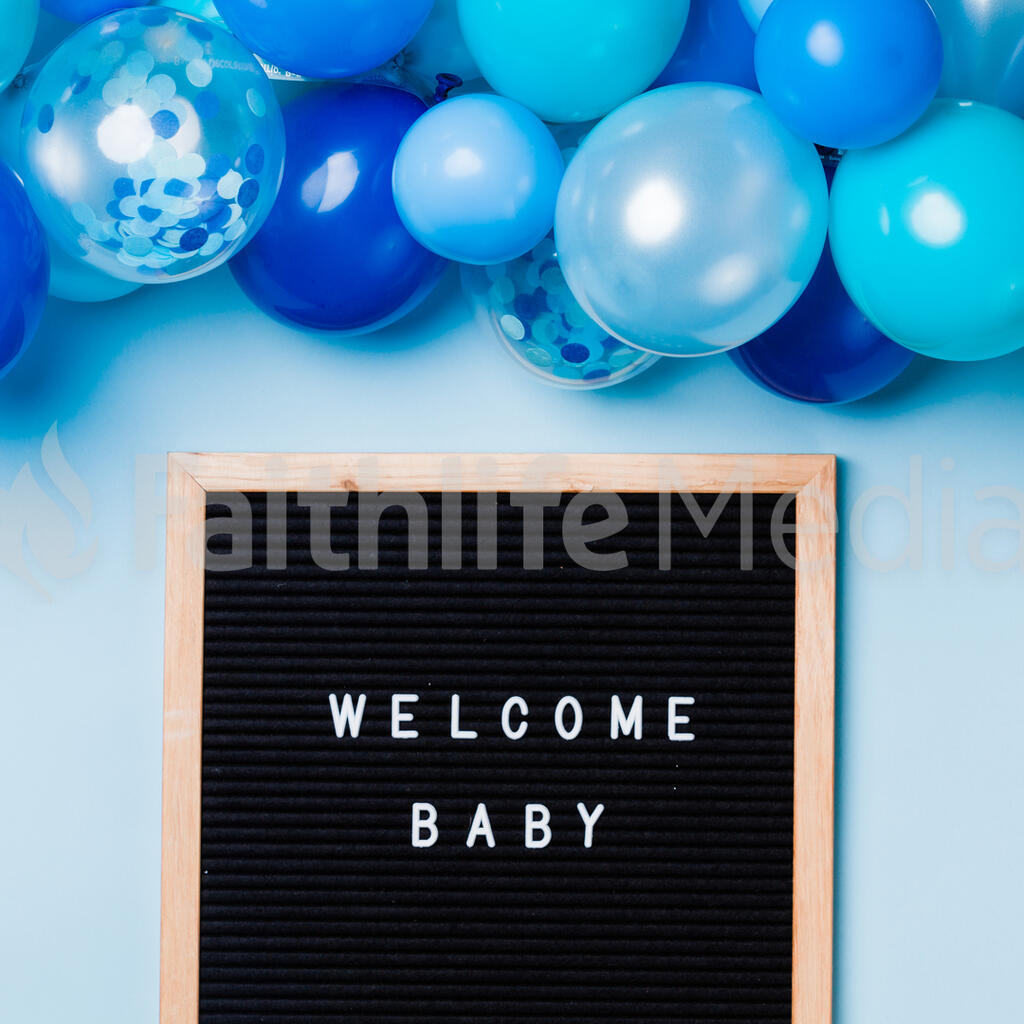Welcome Baby Letter Board with Blue Balloon Garland large preview
