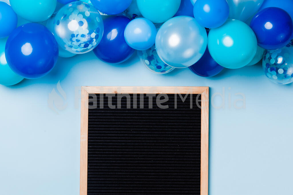 Letter Board with Blue Balloon Garland large preview
