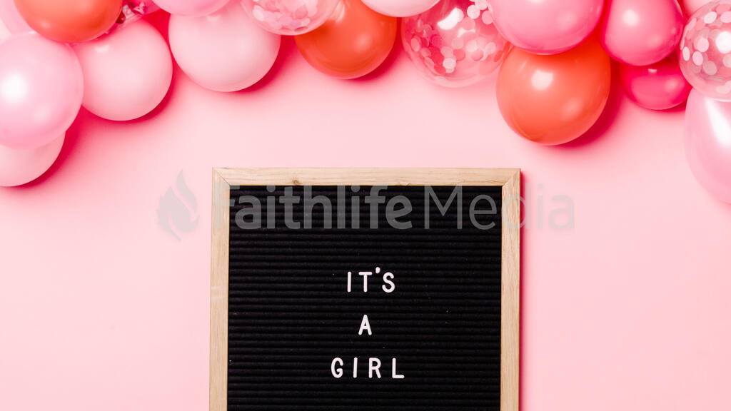 It's a Girl Letter Board with Pink Balloon Garland large preview