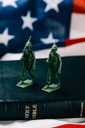 Toy Soldiers Marching on the Bible with an American Flag  image 3