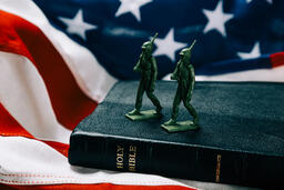 Toy Soldiers Marching on the Bible with an American Flag  image 2