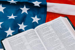 Open Bible on an American Flag  image 3