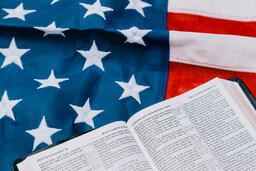 Open Bible on an American Flag  image 8