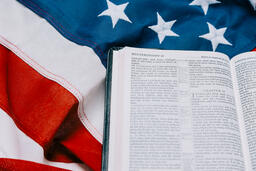 Open Bible on an American Flag  image 4