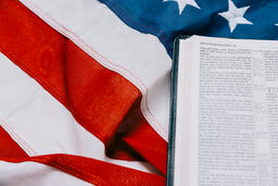 Open Bible on an American Flag  image 2
