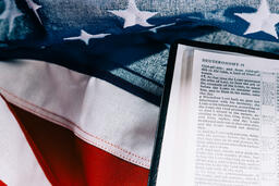 Open Bible on an American Flag  image 7