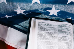 Open Bible on an American Flag  image 6